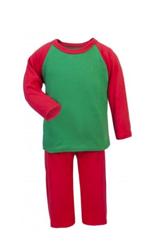 KIDS PERSONALISED RED & GREEN PYJAMAS