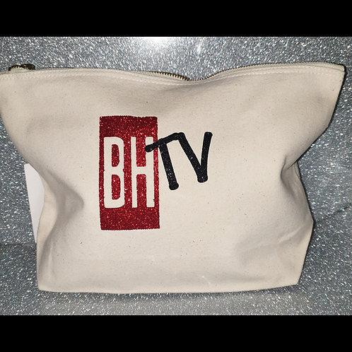 BHTV White Glitter Cosmetic Bag