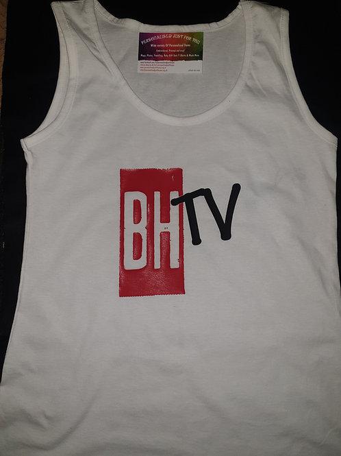 BHTV LADIES WHITE VEST TOP