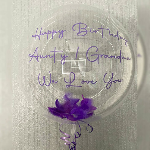 Clear Feather Filled Personalised Balloon