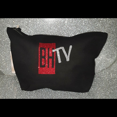 BHTV black Glitter Cosmetic Bag