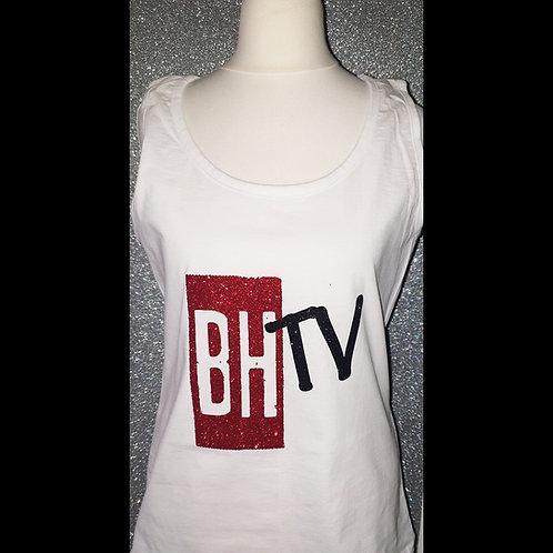 BHTV LADIES WHITE GLITTER VEST TOP