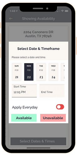 Listing Agent app (Select Showing Availa