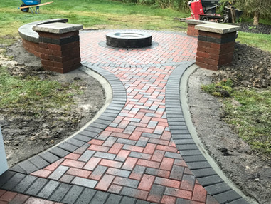 Brick Paver Fire Pit and Walkway