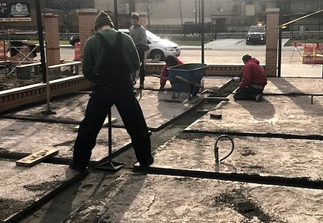 Preparing for the brick pavers at Founders Brewing Co., Detroit