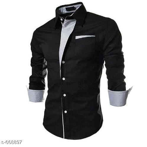 men's partywear solid satin cotton shirt