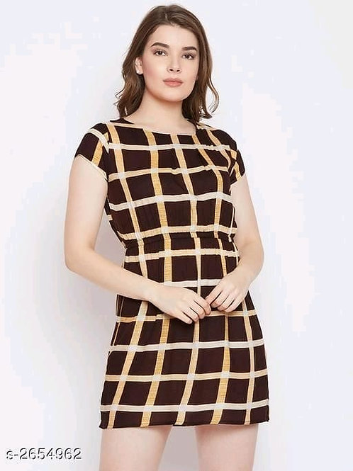 checked brown above knee rayon dress