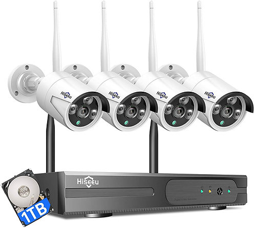Hiseeu Wireless Security Camera System with 1TB Hard Drive with One-Way Audio, 8