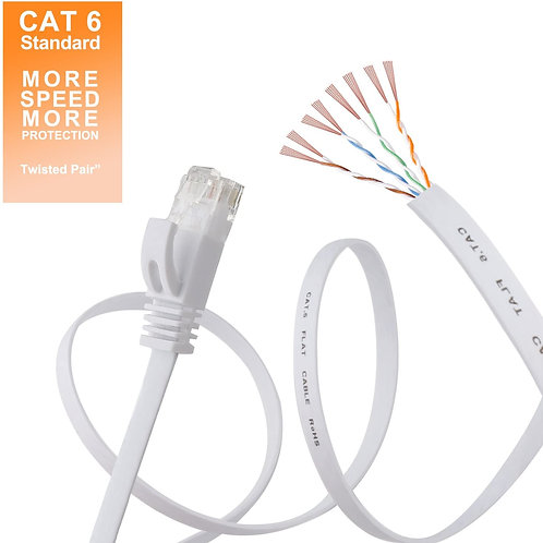 Cat 6 Ethernet Cable 50 ft White Clips & Snagless Rj45 Connectors