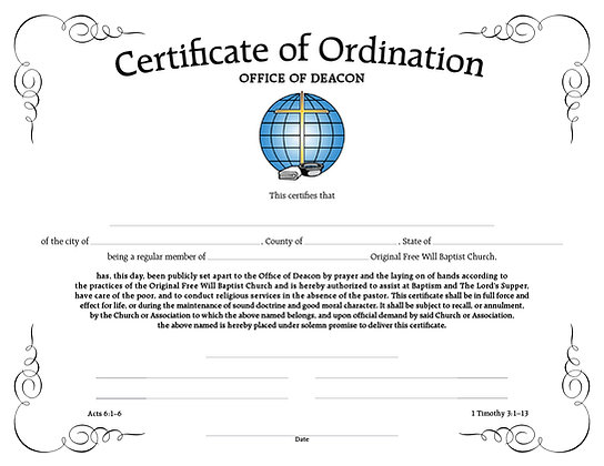 Certificate: Ordination for Deacon (with Envelope)