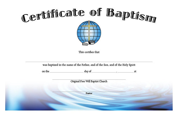 Certificate: Baptism (with envelope)
