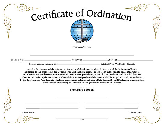 Certificate: Ordination for Minister (each)