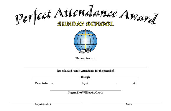 Certificate: Perfect Attendance Award (with Envelope)