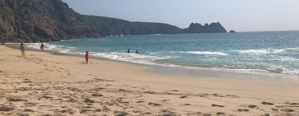 Porthcurno beach (10 mins walk)