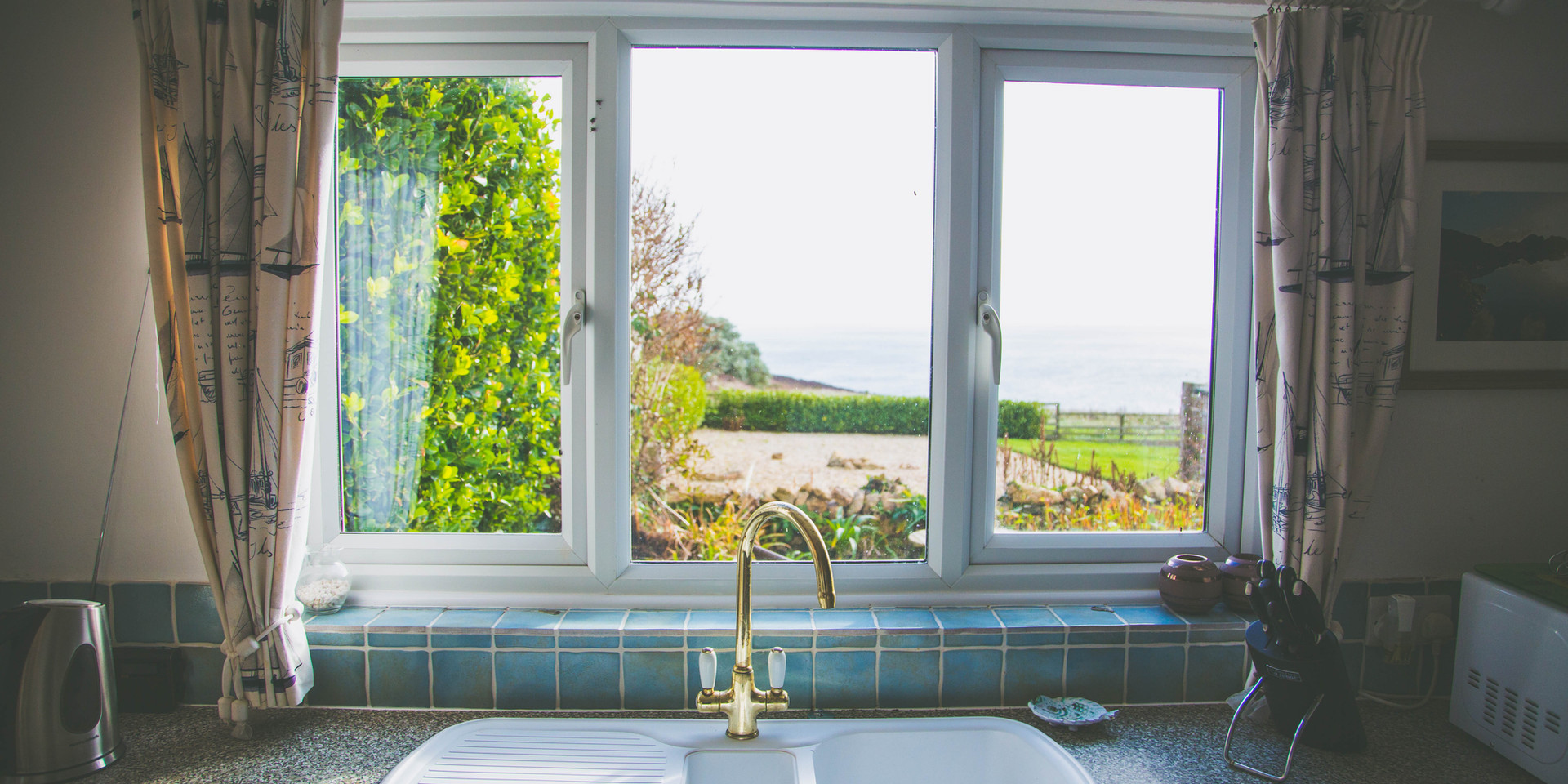 View of sea from kitchen