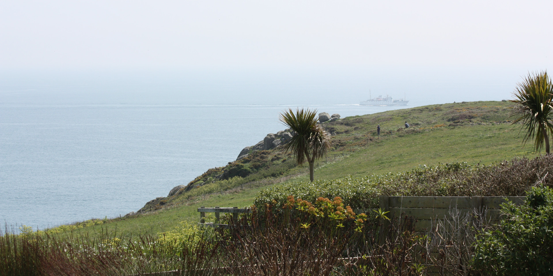 View towards Porth Chapel/coastal path from the end of the garden