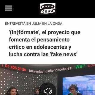 ONDA CERO: Entrevista a alumnos de DOCE Debate