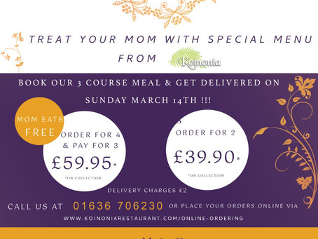 Book Now.Mum Eat Free on mothering Sunday on 14th Sunday 2021.