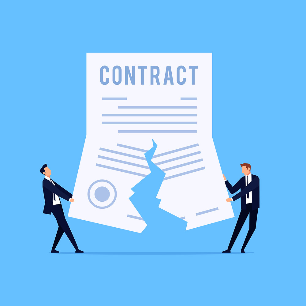 Contract being torn in half as our commercial litigation attorney in Columbus discusses remedies