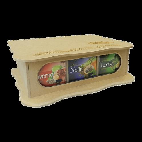 Caixa de madeira / 9 caixas de chás 10 Sachês