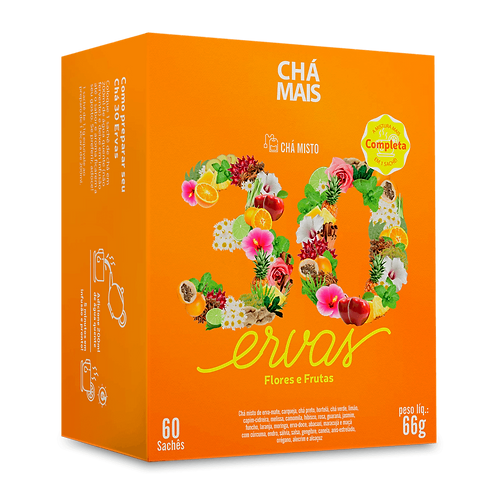 Chá misto 30 Ervas, flores e frutas   60 sachês   Peso líq.: 66g