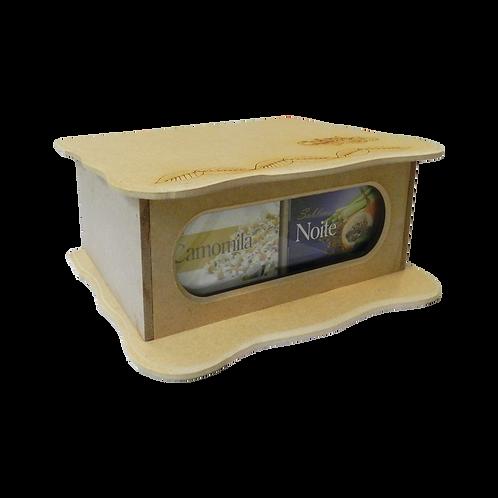 Caixa de madeira / 4 caixas de chás 10 Sachês