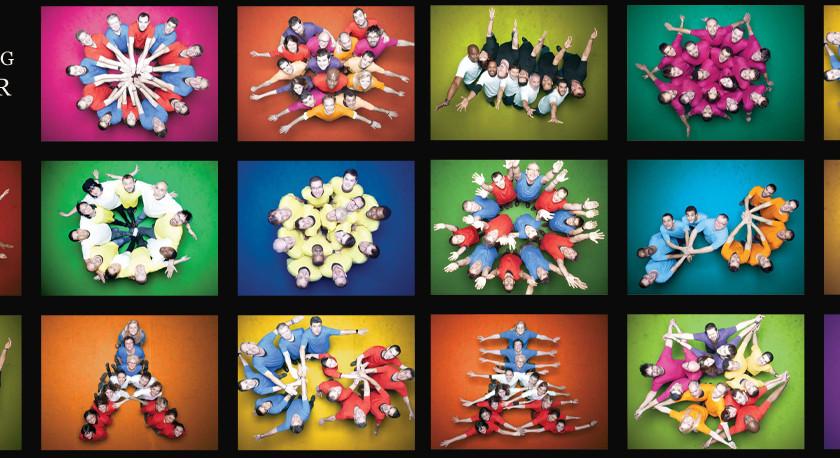 studio photo d'animation l'Œil du Plafond  plusieurs groupes avec t-shirts de couleurs pour realiser un calendrier