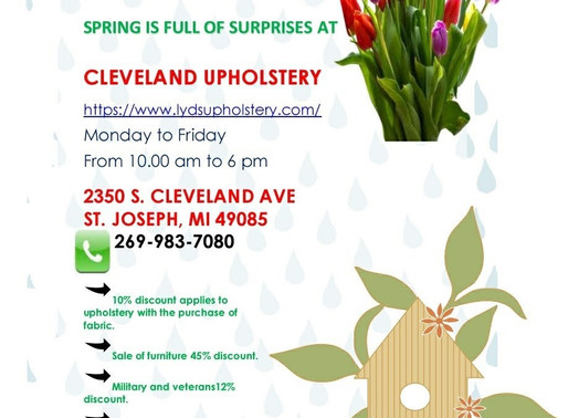 Spring is full of surprises!10% discount applies to upholstery with purchase of fabric