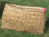 Figure 3. A new sago leaf basket drys in the sun. Because few metal or plastic containers make their way to their isolated island, the people make sturdy baskets like this for a variety of daily uses, including storage, transport of food and tools, and housing chickens. (Photo by H. M. Wyeth)