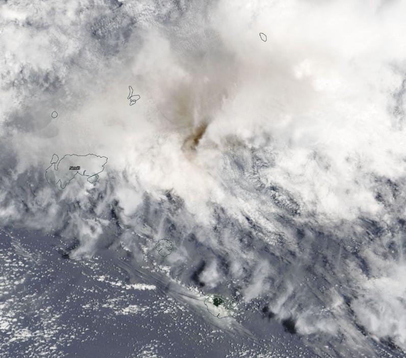 Ash rising above Tinakula volcano - October 21 2017