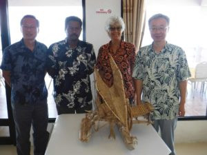 Oliver Liao, Dixon Wia, Mimi George, and Ambassador Luo of Taiwan with TePuke model gifted to Taiwan Embassy