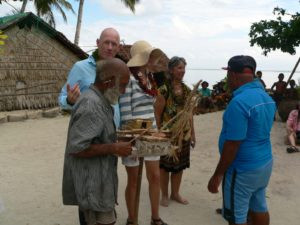 Chief Moses presenting gift model TePuke to his surgeon, Dr. John Kearney