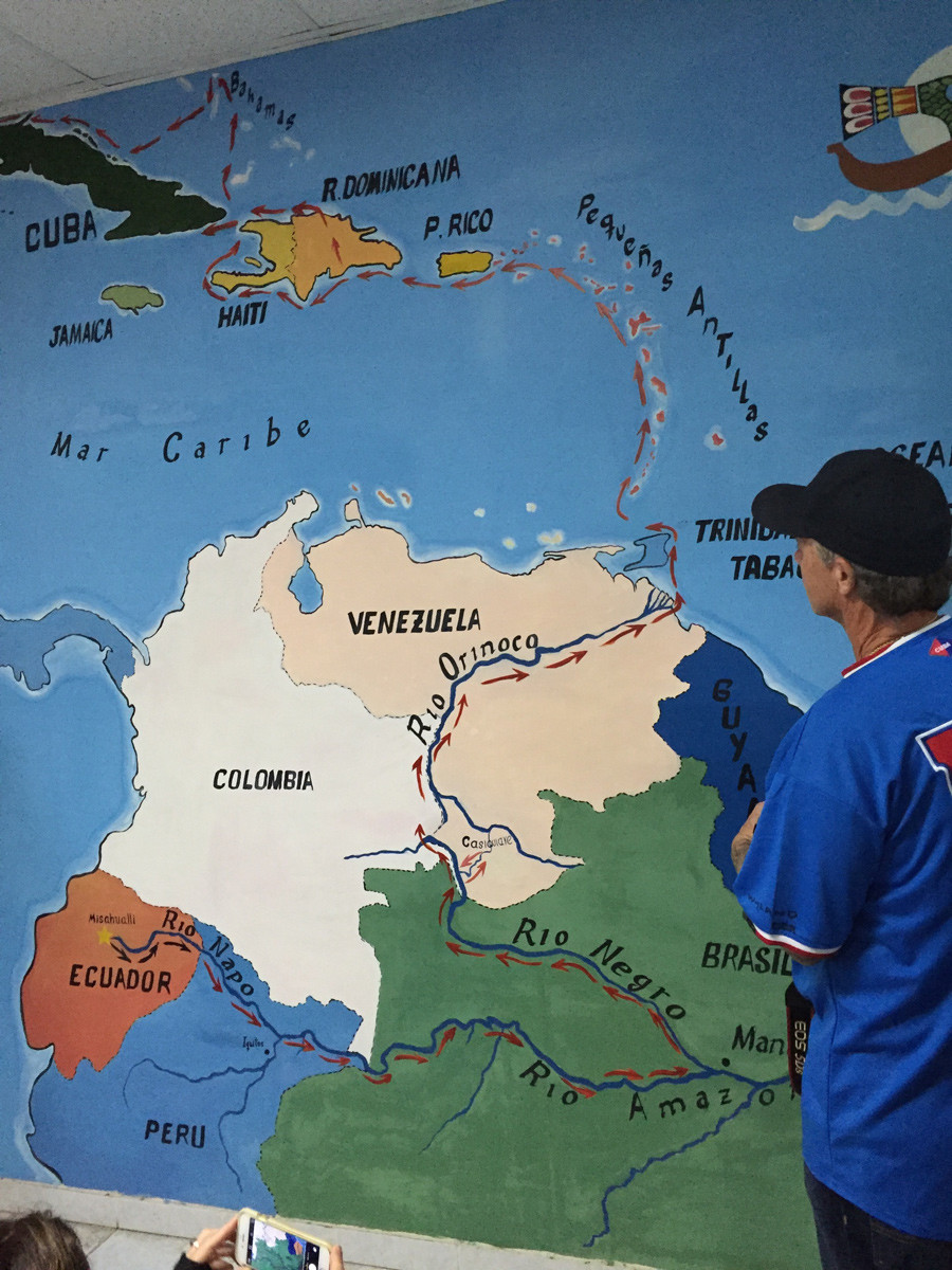 Map of the route of Hatuey Expedition - from Ecuador to Orinoco Basin to Cuba