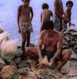 Figure 4. Pounding coconut husks to prepare fibre for cord manufacture. Cord- making, like many canoe-building jobs, employs men and women, old and young. Children like the boys standing in the background gather green coconuts, remove their husks, and bury the husks in sand at the lagoon's edge. After three or four weeks, adults dig them up and beat out the rotten skin, leaving the golden fibers ready for plaiting. (Photo by H. M. Wyeth)