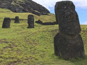 Mostly buried Moai along the hillside under the main quarry