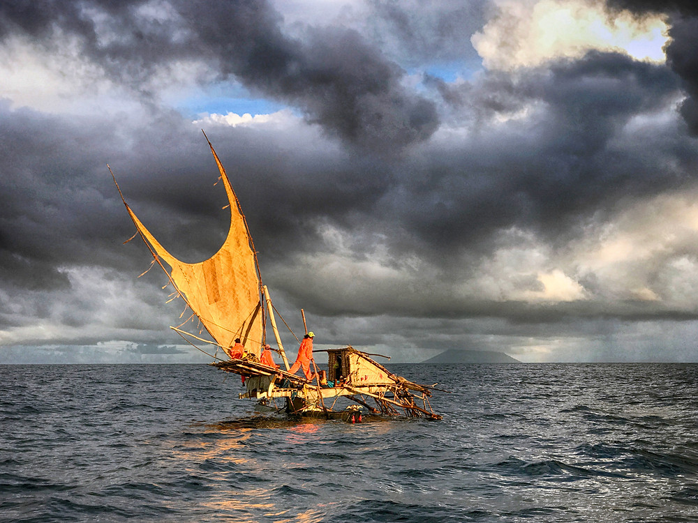 Tepuke under sail near Tinakula Island