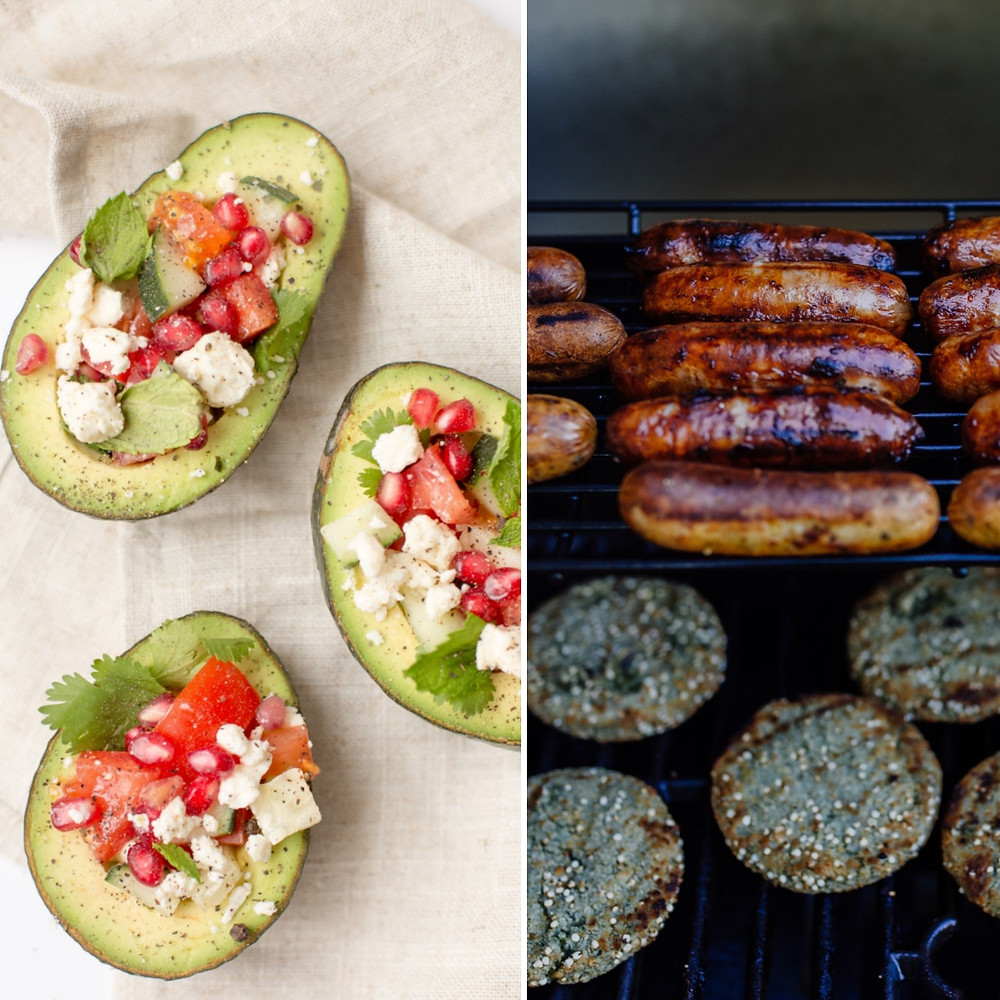 clean vs dirty ketogenic diet, avocado, sausages and burgers, cheese, tomatoes