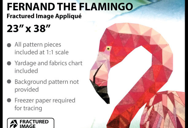 """Fernand the flamingo"" Fractured Image Applique (English)"