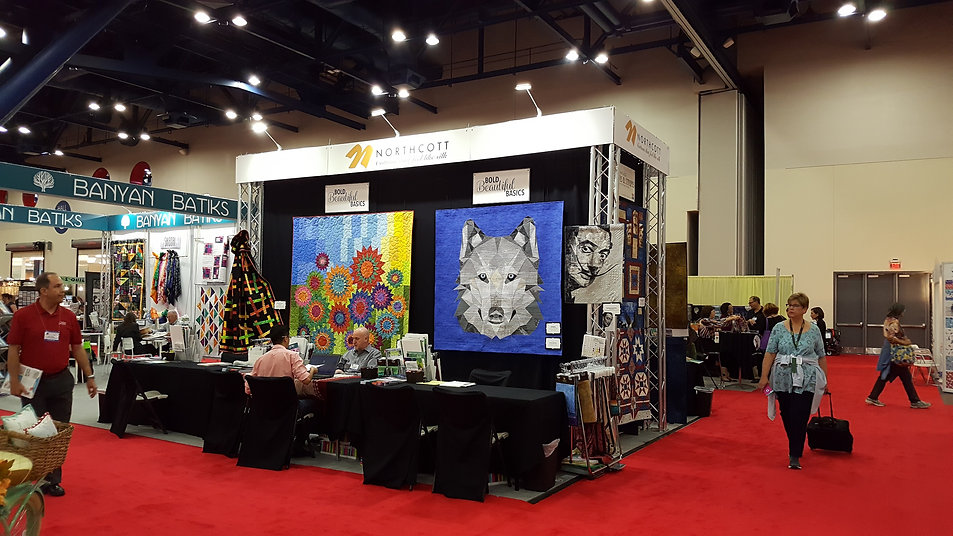 Wolfgang wolf pattern at Houston International Quilting show at Northcott booth