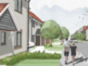 Artist's impression of new housing development in Cullompton, Devon showing coupl walking down tree lined street of new houses