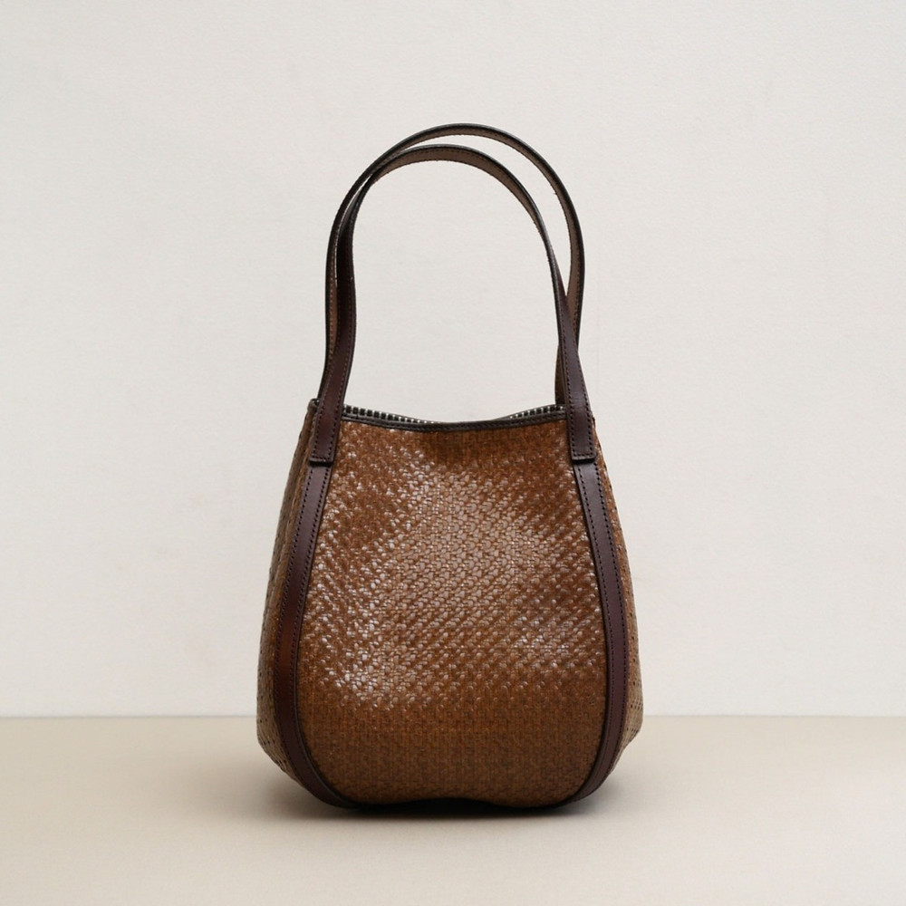 Brown mesh leather hand bag