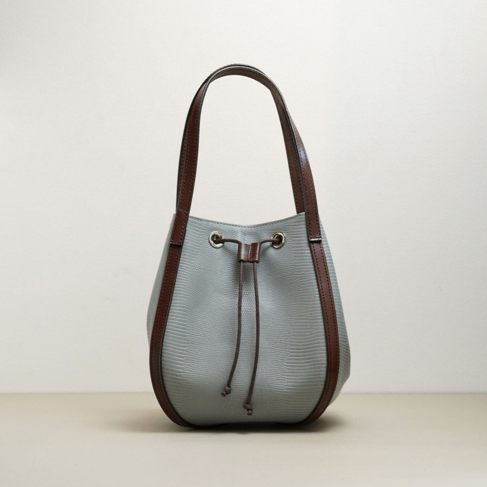 Lizard embossed leather blue gray hand bag with eyelets and strings