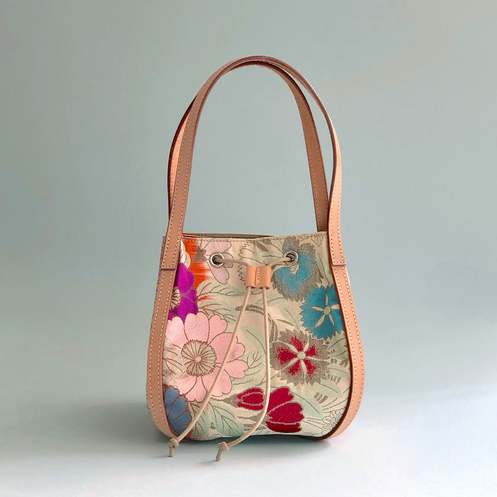 A hand bag made of Japanese traditional flower pattern Kimono-Obi