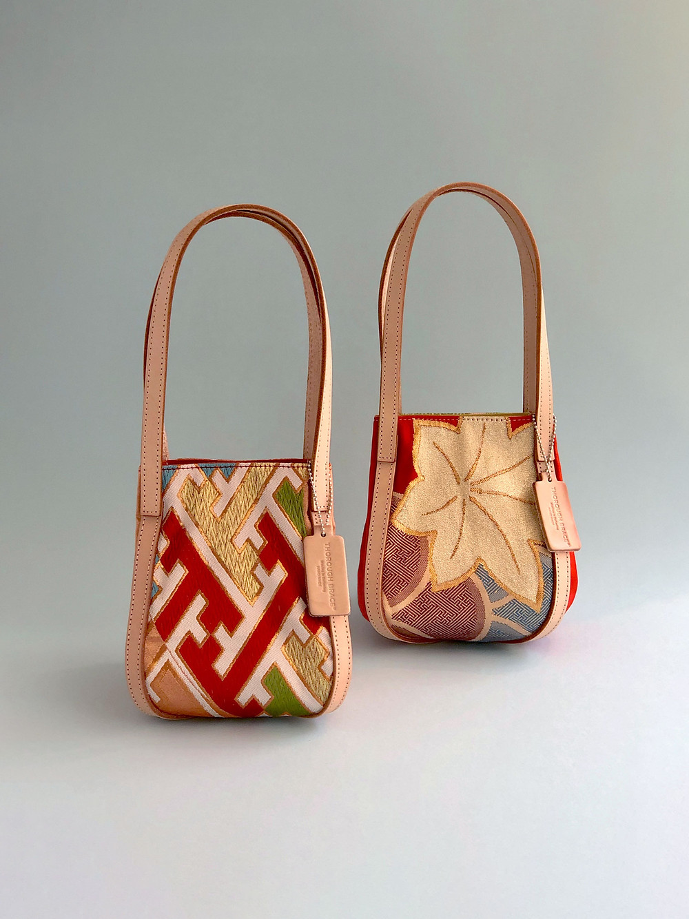 Colorful small silk hand bags made of Japanese traditional Kimono-Obi