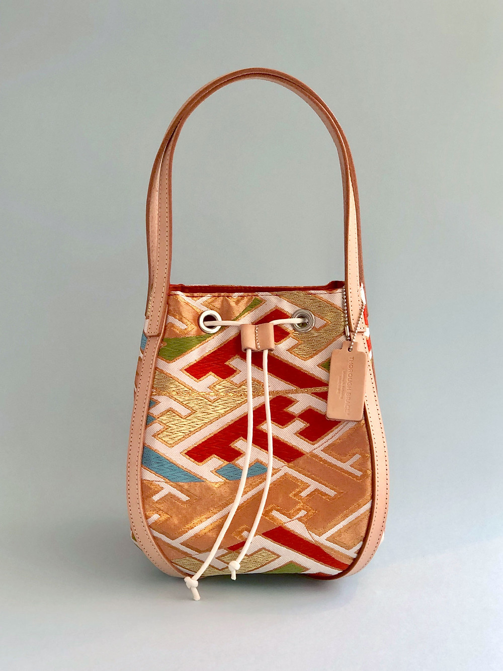 Colorful silk hand bag made of Japanese traditional Kimono-Obi