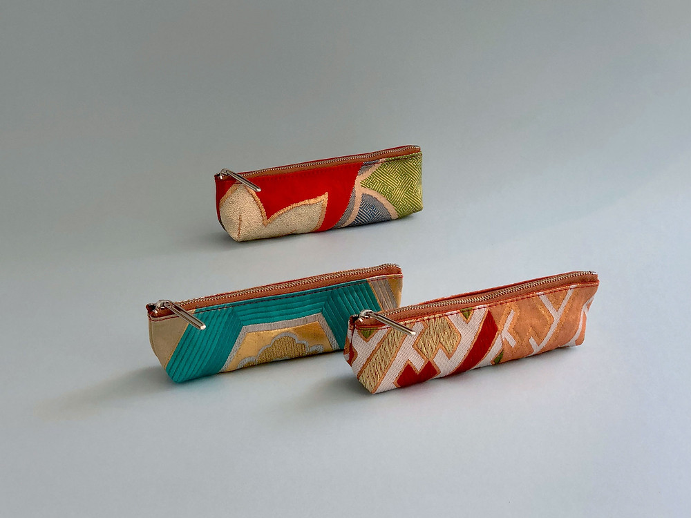 Colorful silk pen cases made of Japanese traditional kimono obi