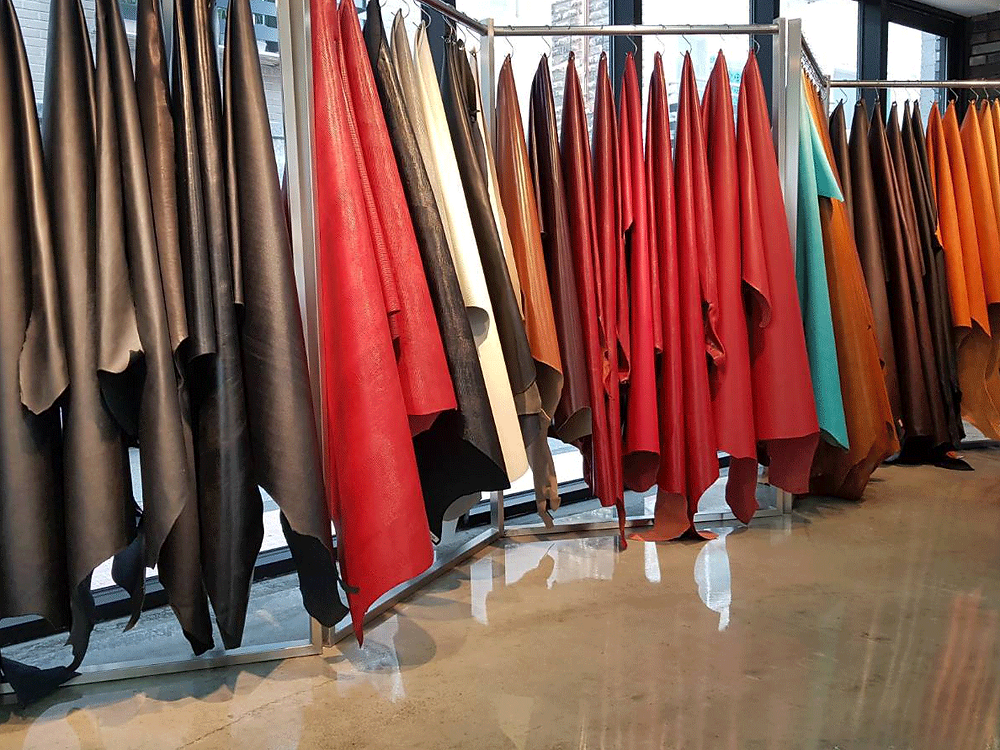Colorful leathers are beautifully displayed