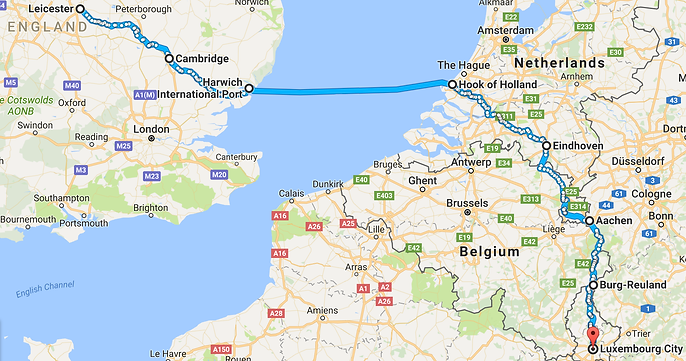 Leicester to Luxembourg