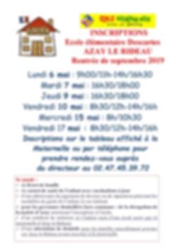 affichette infos inscriptions 2019 mairi