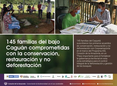 145 familias del bajo Caguán comprometidas con la conservación, restauración y no deforestación